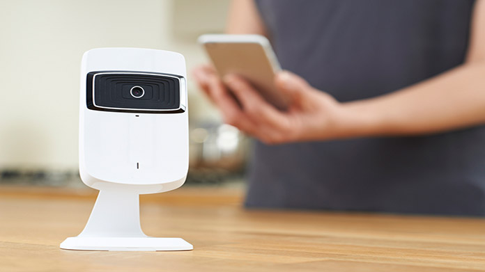 A home security camera on a table