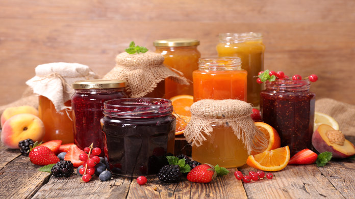 Jars of various types of jam