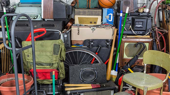 https://cdn2.howtostartanllc.comMany cluttered items including a speaker, a backpack, a baseball bat and a typewriter